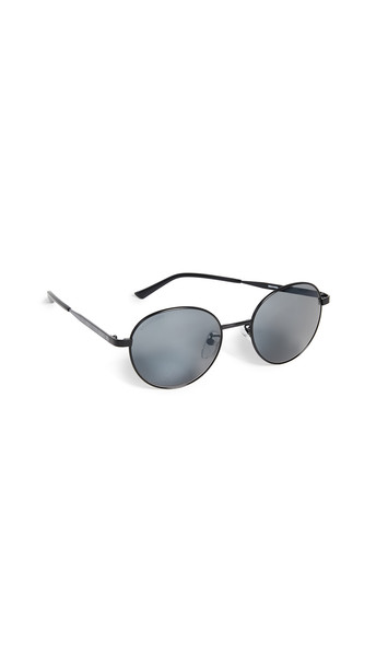 Balenciaga Verso Metal Round Sunglasses in black / grey