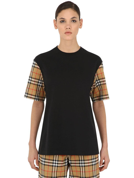 BURBERRY Cotton T-shirt W/ Check Sleeves in black