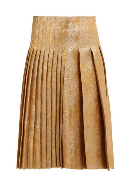 Rochas - Metallic Brocade Pleated Skirt - Womens - Gold