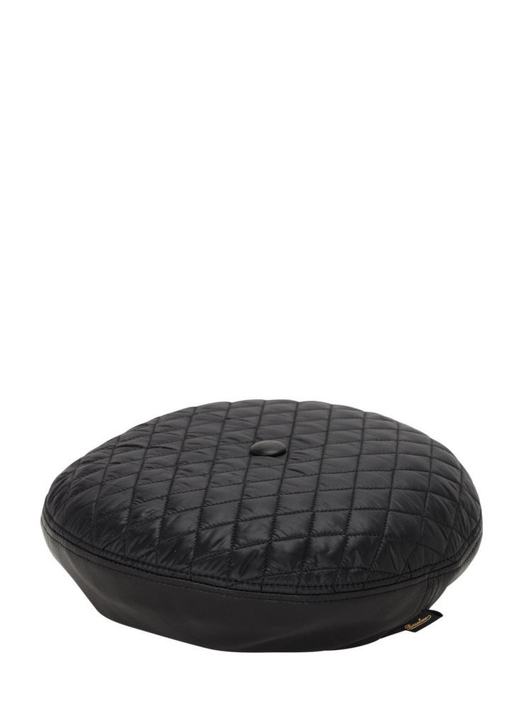 BORSALINO Leather & Quilted Nylon Basco Hat in black