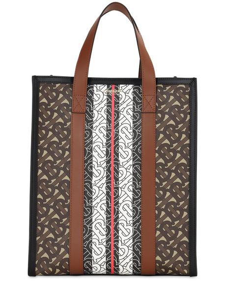 BURBERRY Sm Monogram & Canvas Tote Bag in brown