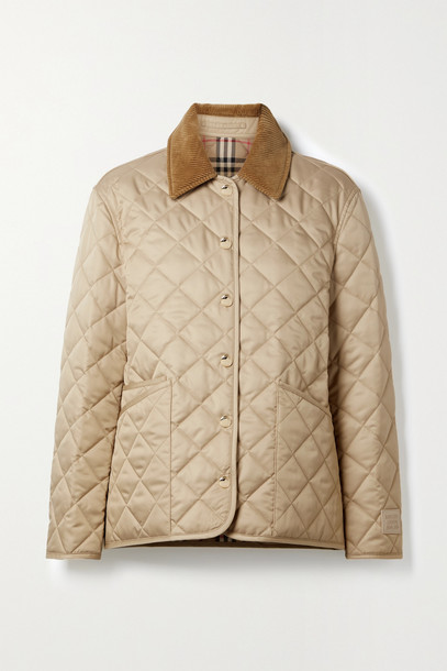 BURBERRY - Corduroy-trimmed Quilted Shell Jacket - Neutrals