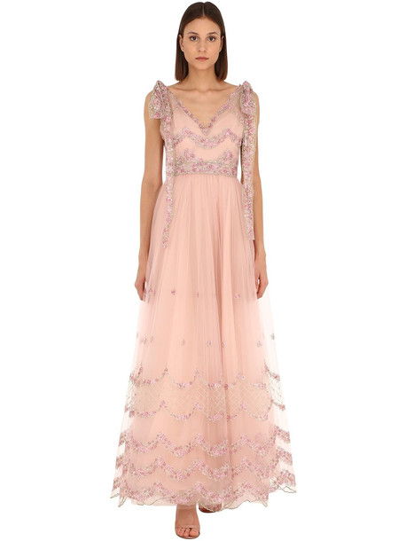 LUISA BECCARIA Embroidered Tulle Long Dress in pink