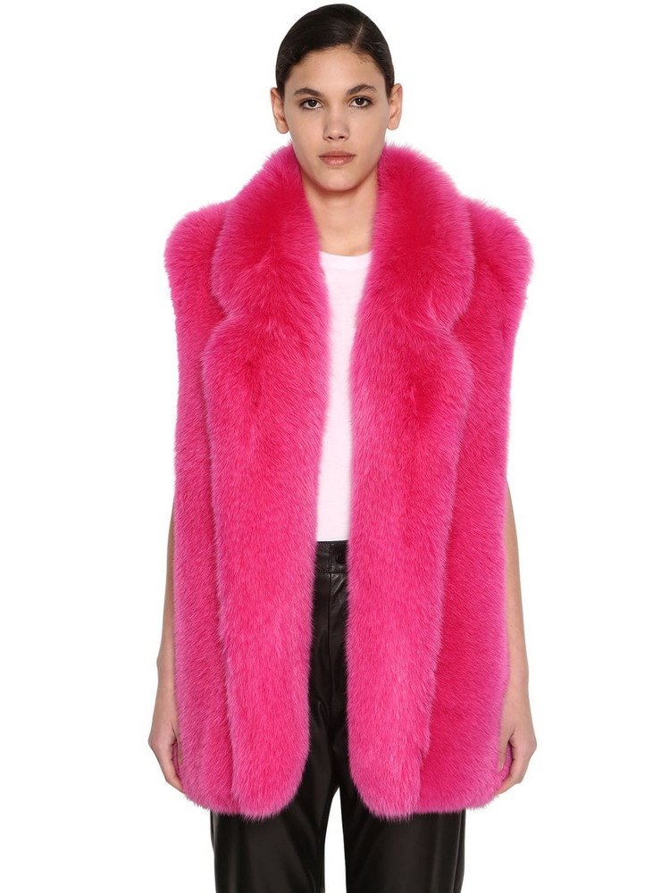BLANCHA Long Shadow Fur Vest in pink