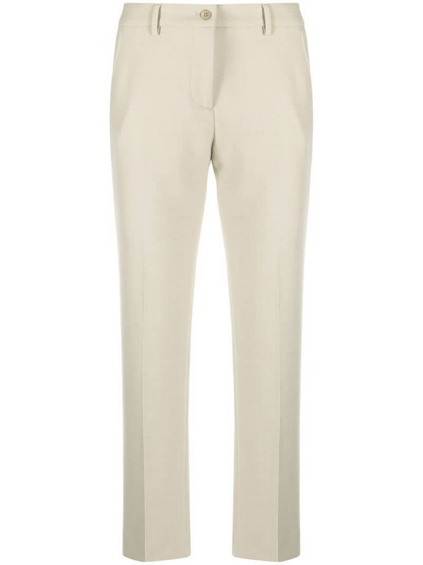 Pt01 cropped high-waisted trousers in neutrals