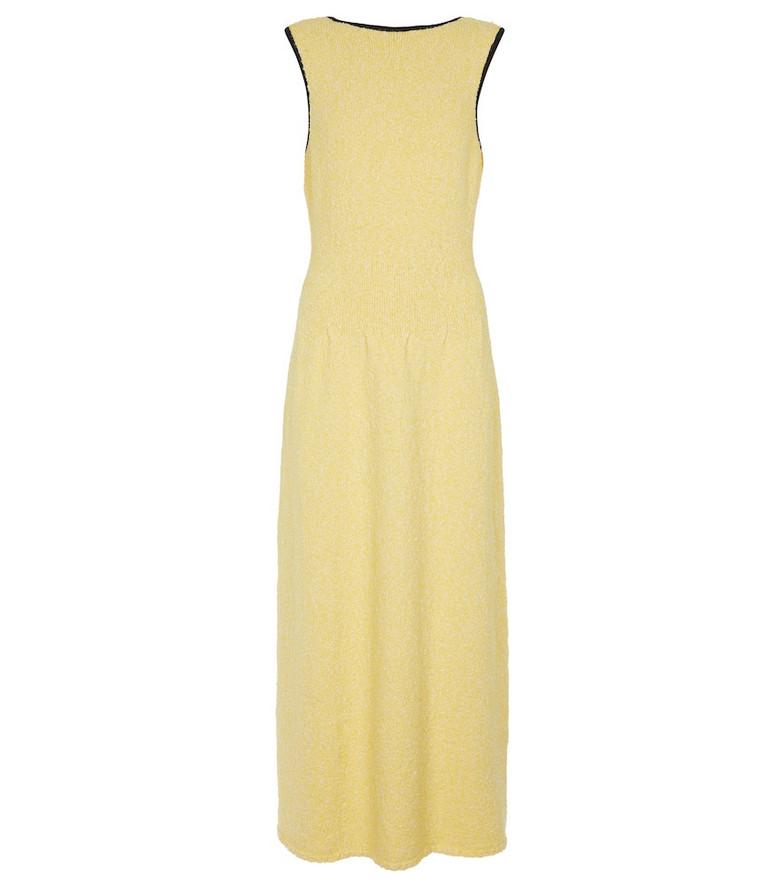 GANNI Knit midi dress in yellow