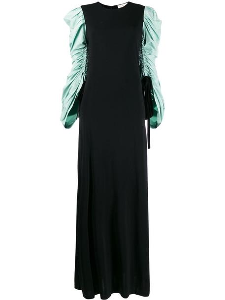 Tory Burch gathered sleeve maxi dress in black