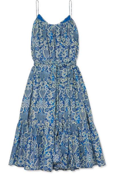 Rhode - Lea Tiered Floral-print Cotton-poplin Mini Dress - Blue