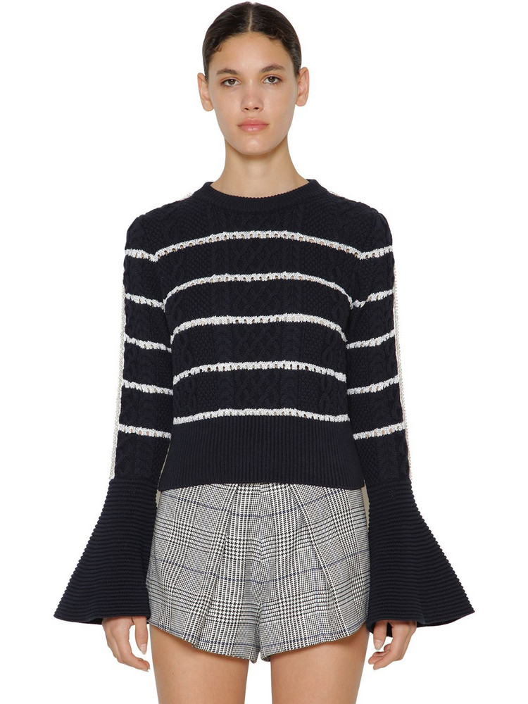 SELF-PORTRAIT Ruffled Cotton Knitted Sweater in navy