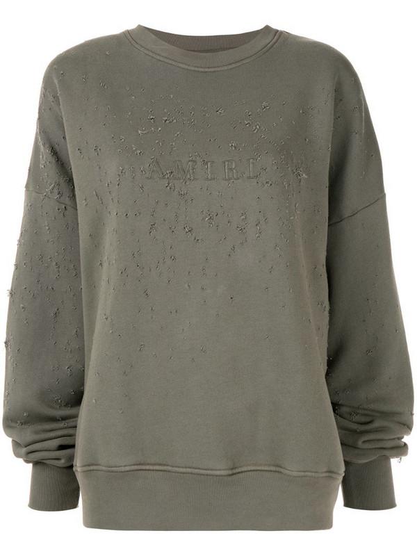 AMIRI logo distressed sweatshirt in green