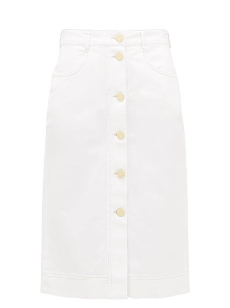 See By Chloé See By Chloé - Buttoned High-rise Brushed-cotton Skirt - Womens - White