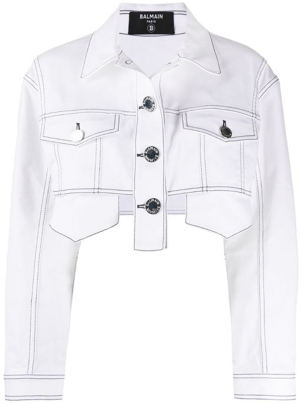 Balmain cropped denim jacket in white