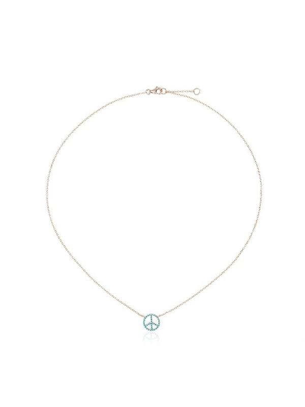 Rosa de la Cruz 18k gold necklace with turquoise peace pendant in metallic