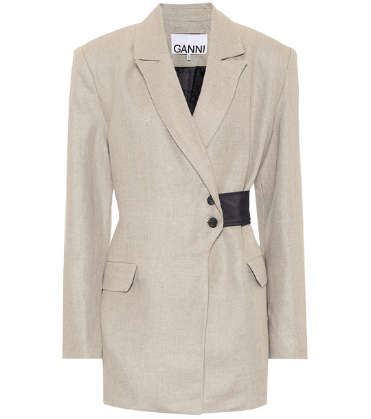 Ganni Linen blazer in grey