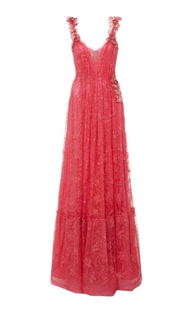 Rodarte Flamingo Glittered Flower-Appliquéd Chantilly Lace Gown in pink