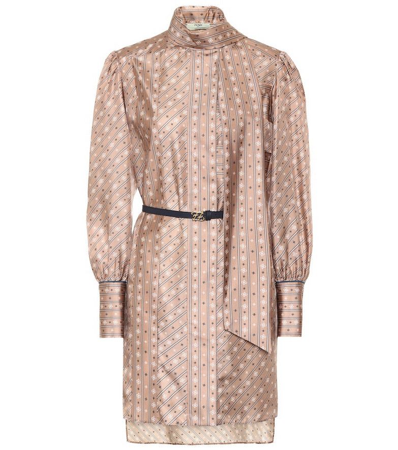 Fendi Printed silk minidress in pink