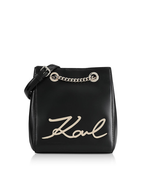 Karl Lagerfeld Black And Gold K/signature Bucket Bag