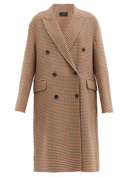 Joseph - Carles Houndstooth Wool-blend Double-breasted Coat - Womens - Beige Multi