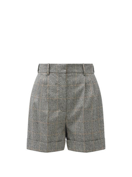 Alexander Mcqueen - High-rise Prince Of Wales-check Shorts - Womens - Grey Multi