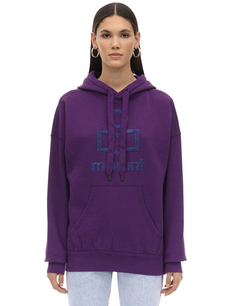 ISABEL MARANT ÉTOILE Logo Embroidered Cotton Blend Hoodie in purple