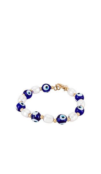 8 Other Reasons Evil Eye Beaded Bracelet in Metallic Gold in blue / white