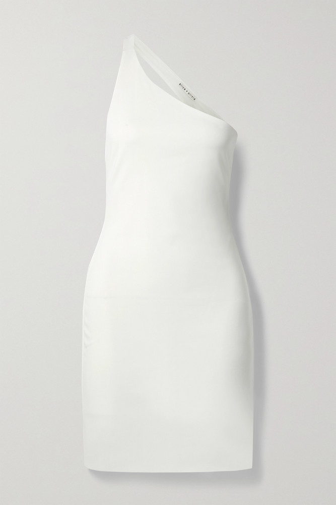 ALICE + OLIVIA ALICE + OLIVIA - Rosia Open-back One-shoulder Stretch-jersey Mini Dress - White
