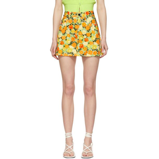 Simon Miller White & Orange Denim Printed Miniskirt