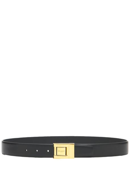 SAINT LAURENT 3cm Ysl Leather Belt in black