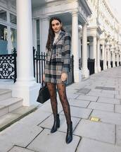 jacket,plaid blazer,grey blazer,set,mini skirt,plaid skirt,high waisted skirt,tights,black boots,ankle boots,black bag,white turtleneck top