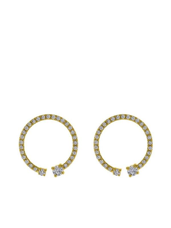 Kat Kim 18kt yellow gold Lorraine pave diamond earrings in white