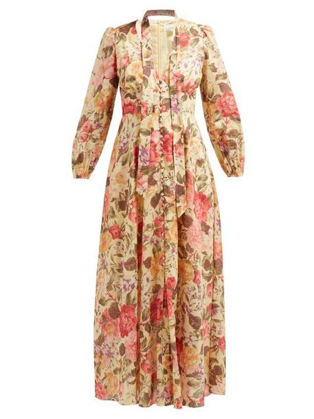 Zimmermann - Honour Floral Print Voile Dress - Womens - Pale Yellow