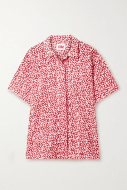 Solid & Striped - Floral-print Broderie Anglaise Cotton Shirt - Tomato red