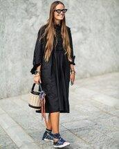 dress,black dress,midi dress,long sleeve dress,bucket bag