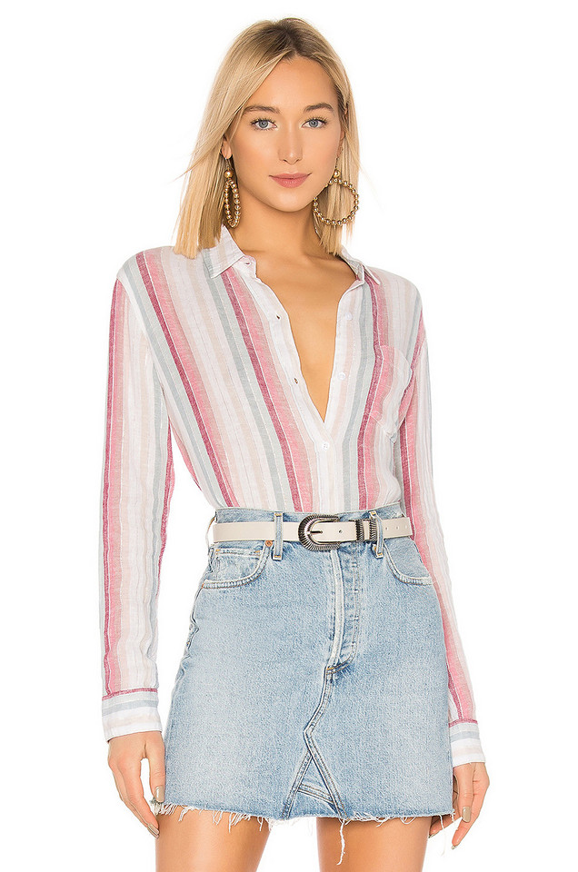 Rails Charli Button Down Top in pink