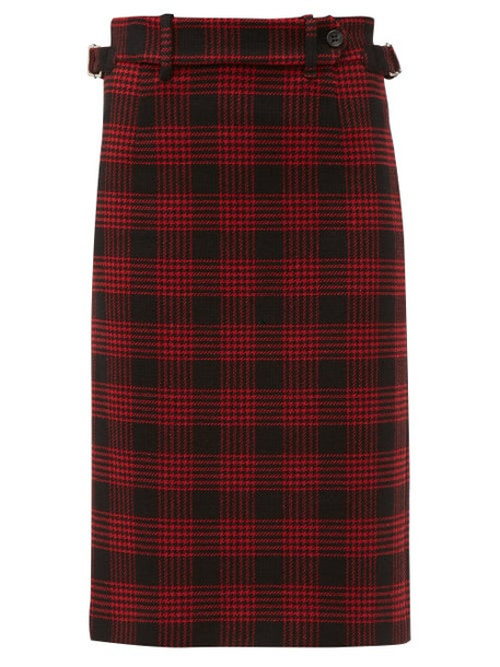 Redvalentino - Prince Of Wales Checked Pencil Skirt - Womens - Black Red