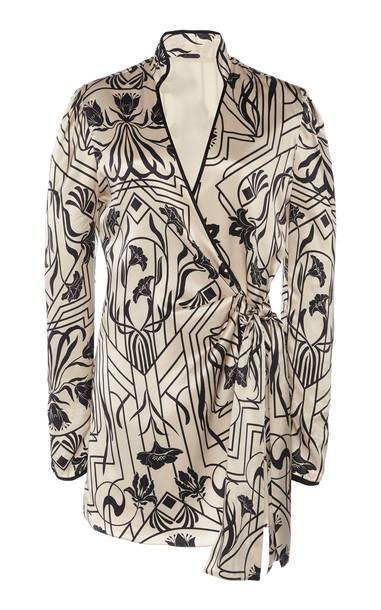 Johanna Ortiz Jazz Age Printed Silk Wrap Top Size: 2 in black