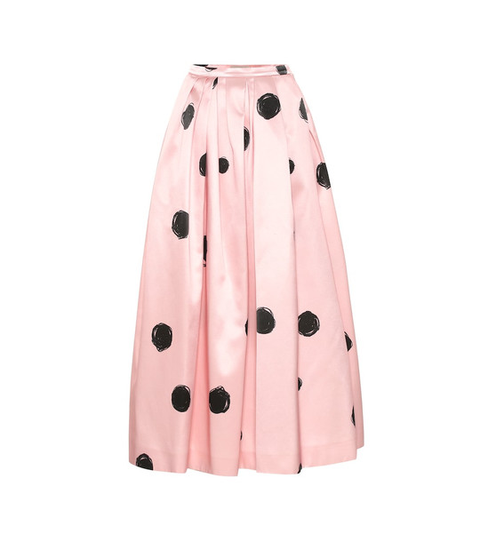 Christopher Kane Polka-dot satin midi skirt in pink