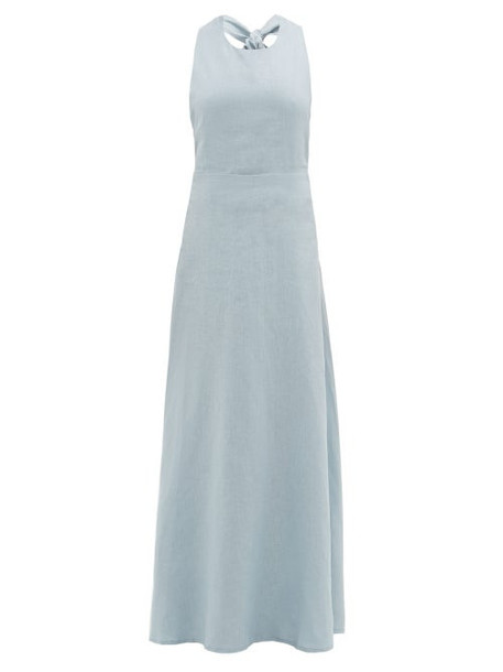 Albus Lumen - Lima Neck Tie Linen Maxi Dress - Womens - Blue