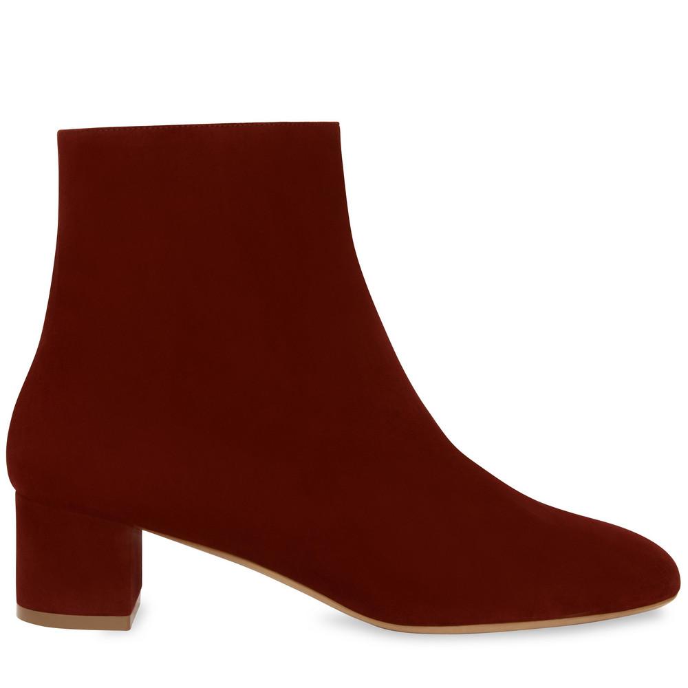 Mansur Gavriel Suede 40MM Unlined Ankle Boot - Burgundy
