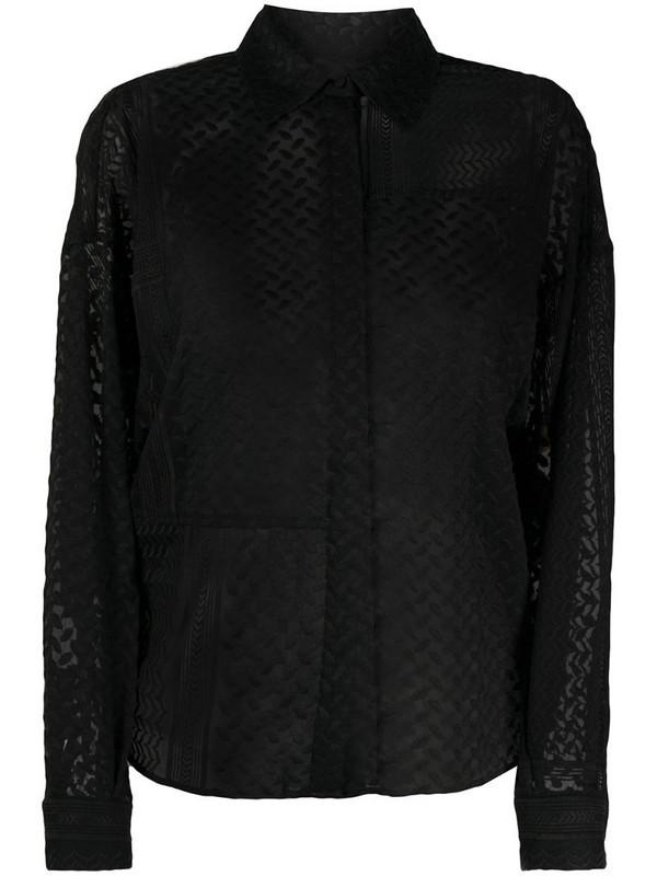 Lala Berlin embroidered semi-sheer shirt in black