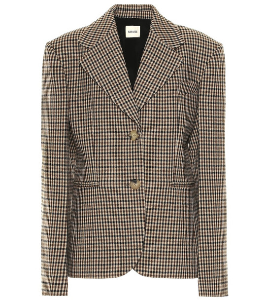 Khaite Kendall checked wool blend blazer in brown