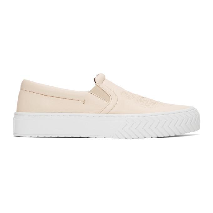 Kenzo Off-White Leather K-Skate Sneakers in ecru