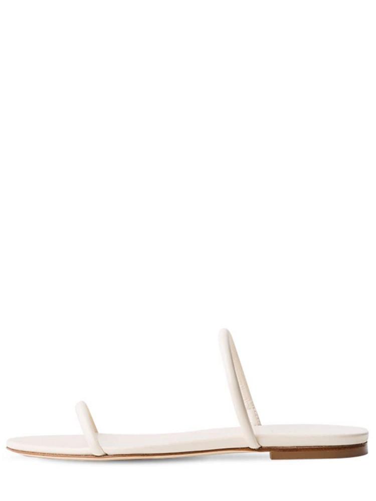 AEYDE 10mm Alek Leather Slide Flats in cream