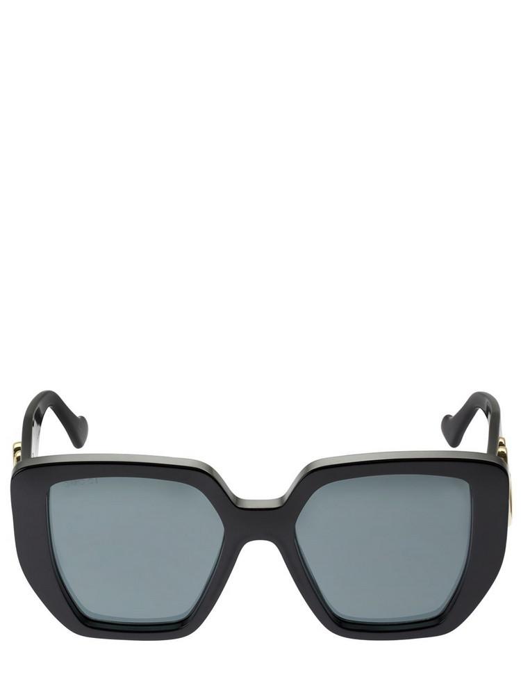GUCCI Gg Logo Squared Acetate Sunglasses in black / grey