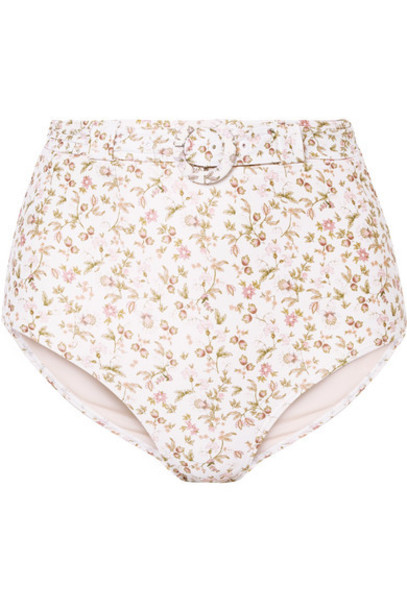 Peony - Belted Floral-print Bikini Briefs - Ivory