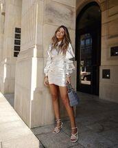 dress,mini dress,silver dress,white sandals,bag