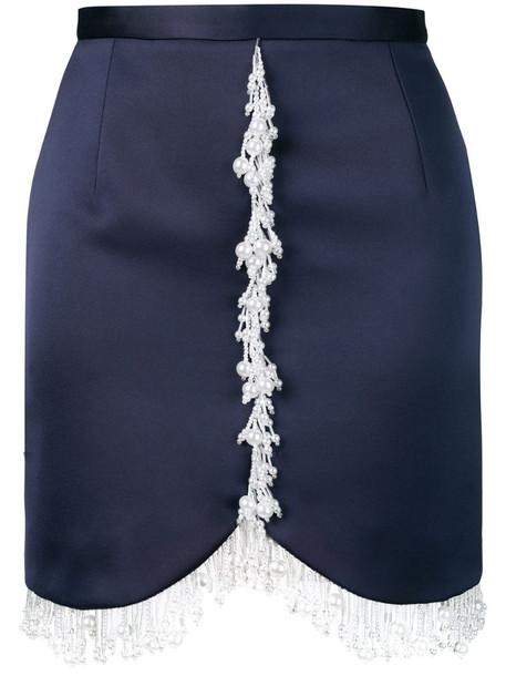 Christopher Kane pearl embellished mini skirt in blue