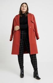 jacket,red,red jacket,semi long,plus-size,wool