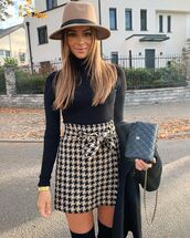 skirt,mini skirt,houndstooth,high waisted skirt,black turtleneck top,hat,black boots,over the knee boots