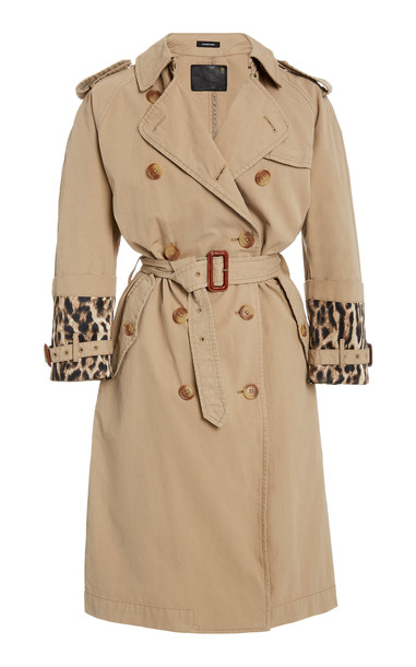 R13 Foldover Cuff Trench Coat in brown